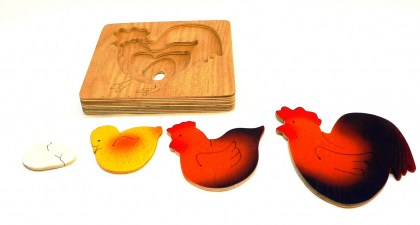 KR015  Life Cycle of Chicken 4 tiered puzzle